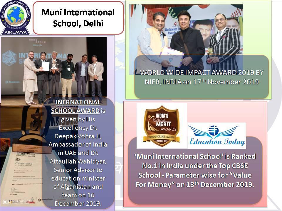MUNI INTERNATIONAL SCHOOL RECEIVED AWARD